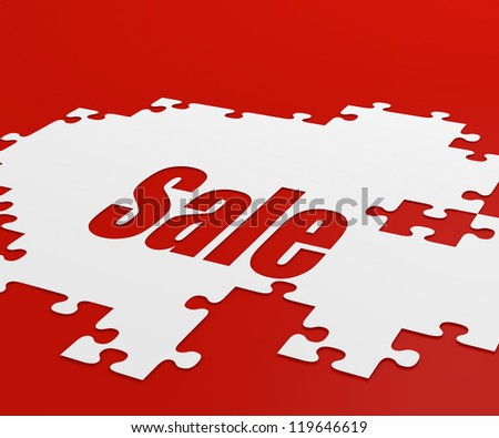 Sales background in red with white pieces of puzzle