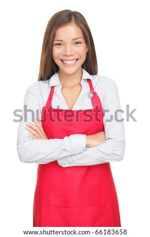 Sales clerk or small shop owner isolated on white background. Smiling young woman. - stock photo