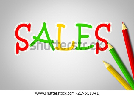 Sales Concept text on background - stock photo