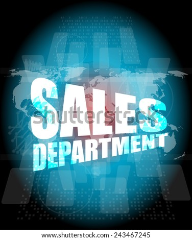 sales department words on digital screen with world map - stock photo
