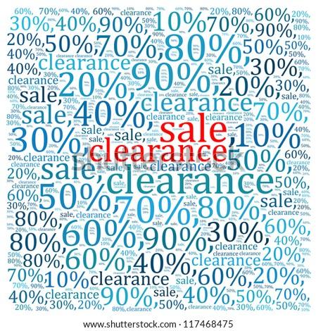 Sales discount info text graphics and arrangement - stock photo