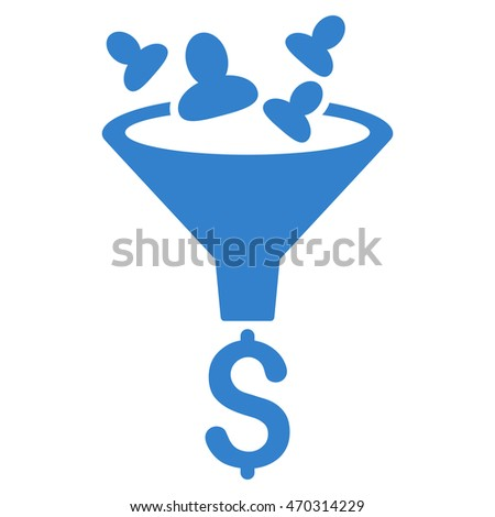Sales Funnel icon. Glyph style is flat iconic symbol with rounded angles, cobalt color, white background.