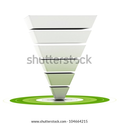 sales funnel with six stages easily customizable pointing to a green target, can be used as a marketing funnel, diagram over white background - stock photo