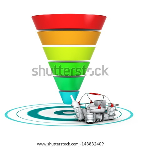 Sales funnel with 6 stages, easily customizable from 3 to 6 levels with a basket and a target. conceptual diagram suitable for marketing or business purpose. - stock photo