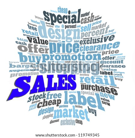 Sales info-text graphics and arrangement concept on white background (word cloud)