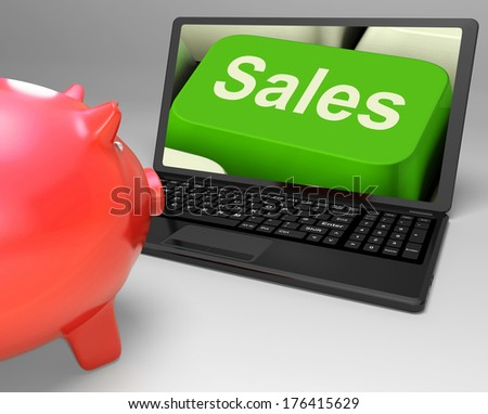 Sales Key Showing Web Selling And Financial Forecast