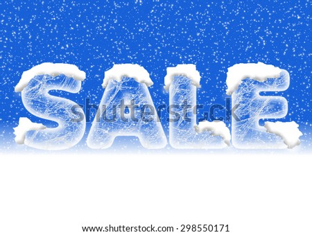 Sales lettering in ice letters with snow on top and a blue background with snowfall - stock photo