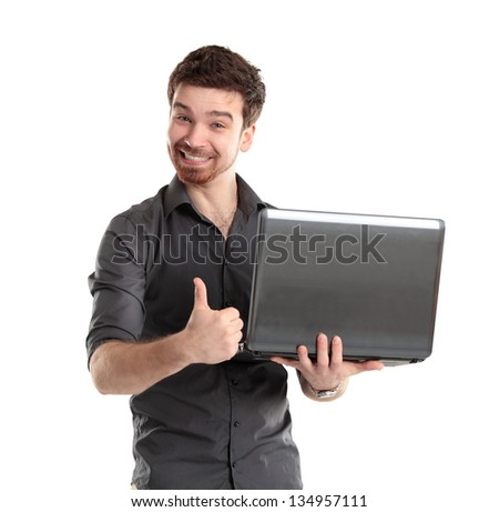 Sales man presenting laptop on white background - stock photo