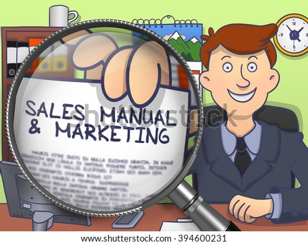 Sales Manual and Marketing on Paper in Businessman's Hand through Magnifying Glass to Illustrate a Business Concept. Multicolor Modern Line Illustration in Doodle Style. - stock photo