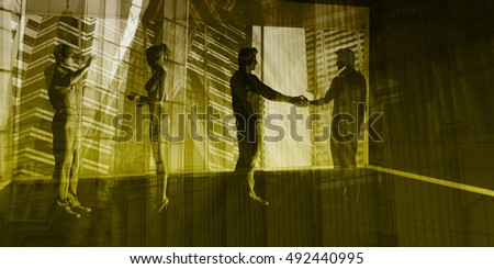 Sales Meeting with Businessmen Shaking Hands 3D Illustration Render
