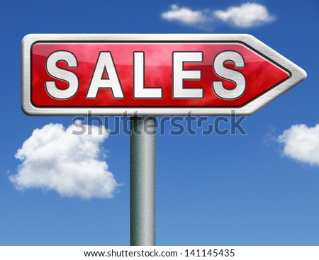 sales online shopping concept with discount web shop bargain cheap order at webshop sale icon red road sign arrow with text and word concept - stock photo