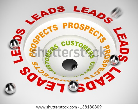 sales process diagram, converting leads to prospects and then to customer, 3D illustration - stock photo