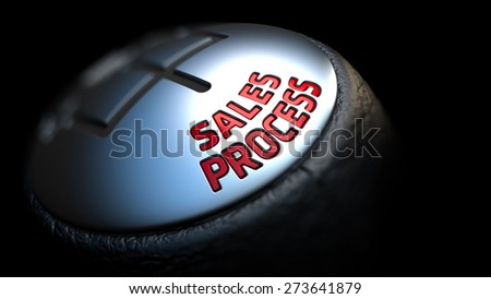 Sales Process - Red Text on Black Gear Shifter with Leather Cover. Close Up View. Selective Focus. - stock photo