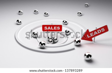 Sales process simplified one arrow with the word leads ans a sign with the word sales, 3d render - stock photo