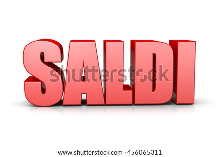 Sales Red 3D Text Italian Language Illustration on White Background - stock photo