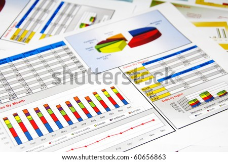 Sales Report in Statistics, Graphs and Charts Colored - stock photo