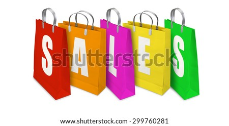 Sales Shopping Bags opened and closed isolated on White Background - stock photo