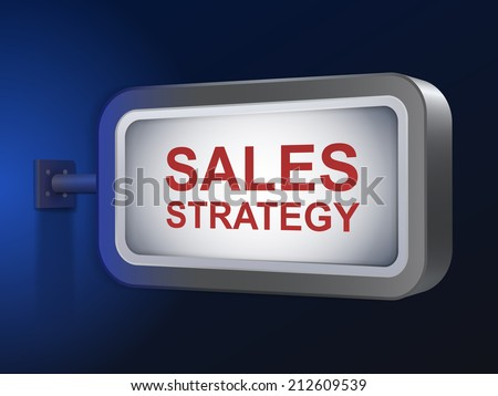 sales strategy words on billboard over blue background