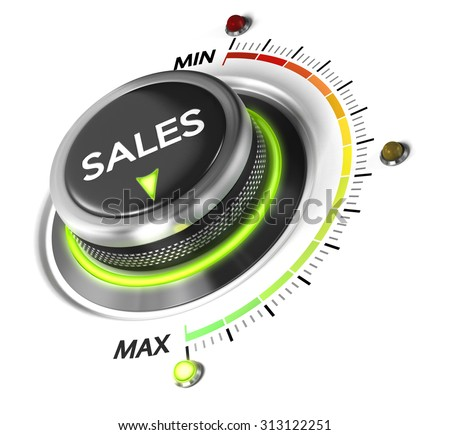 Sales switch button positioned on maximum, white background and blue light. Conceptual image for sales strategy and growth of incomes. - stock photo