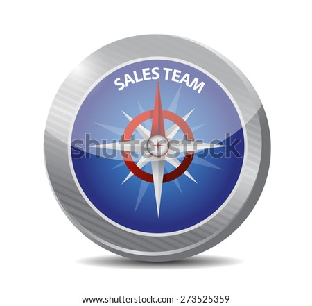 sales team compass sign concept illustration design over white - stock photo