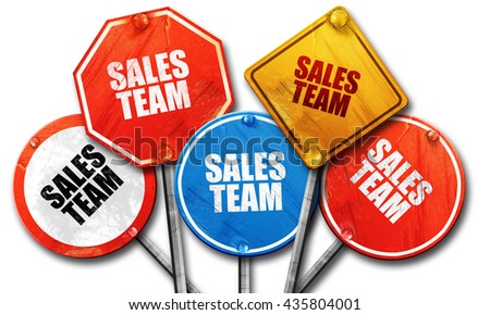sales team, 3D rendering, rough street sign collection - stock photo