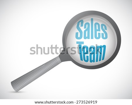 sales team magnify glass sign concept illustration design over white - stock photo