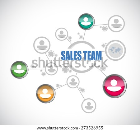 sales team people diagram sign concept illustration design over white - stock photo