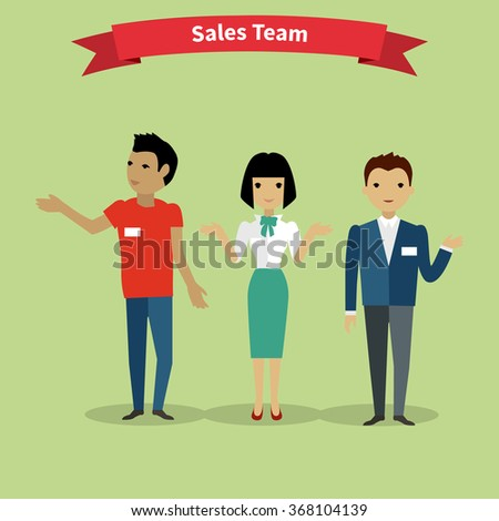 Sales team people group flat style. Sales person, salesman and sales meeting, marketing and business team, working job, management teamwork illustration. Raster version - stock photo