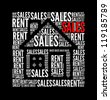 sales text collage Composed in the shape of house - stock photo