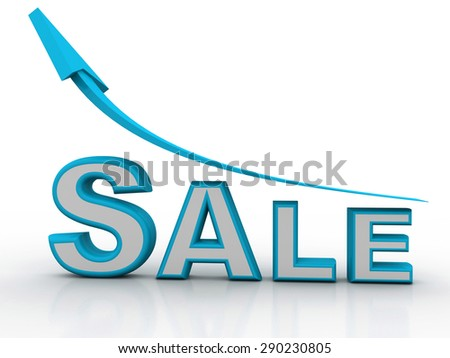 Sales with upward arrow, 3d render - stock photo