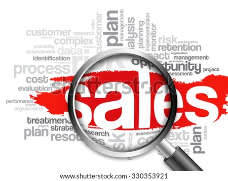 Sales word cloud with magnifying glass, business concept - stock photo