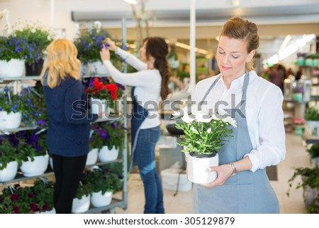 Salesgirl holding flower pot with colleague assisting customer in background at shop - stock photo