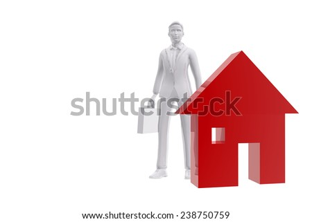 Salesman and house symbol - stock photo