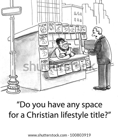 "Salesman asks R-rated newsstand owner, ""Do you have any space for a Christian lifestyle title?"". - stock photo"