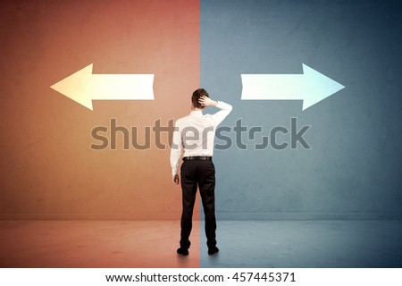 Salesman in doubt standing in front of two arrows on blue and red background concept
