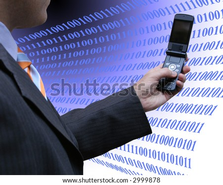 Salesman programing - stock photo