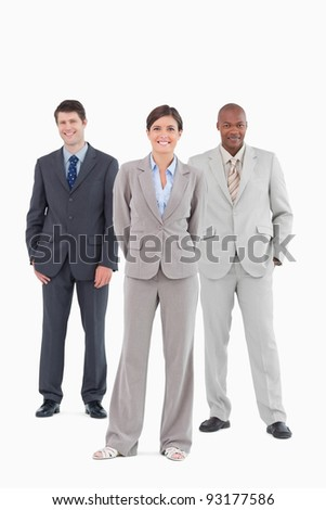 Salesteam standing together against a white background