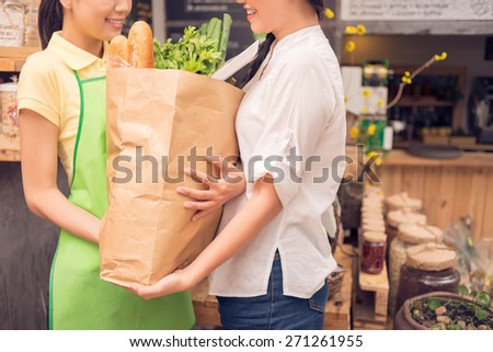 Saleswoman helping customer with shopping bag at the grocery store - stock photo
