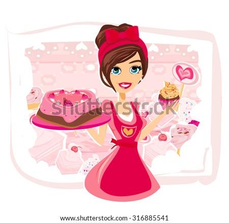 saleswoman serving chocolate cakes - stock photo
