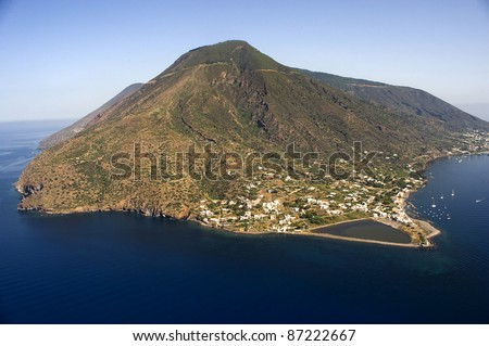 salina from above, eolie island, messina, sicily, italy, europe