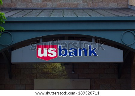 SALINAS, CA/USA - APRIL 18, 2014:  U.S. Bank Sign. U.S. Bancorp is an American diversified financial services holding company headquartered in Minneapolis, Minnesota. - stock photo