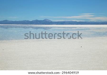 Salinas Grandes salt lake flooded, Argentina  - stock photo