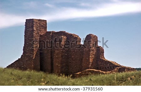 Salinas Pueblo National Monument (New Mexico)- Abo Mission ruins of an old Spanish mission - stock photo