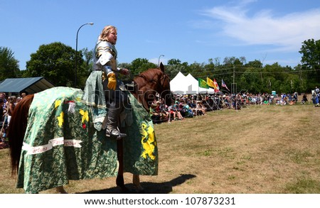 SALINE, MI - JULY 14: Unidentified jouster awaiting his sword at the jousting demonstration as part of the Saline Celtic Festival July 14, 2012 in Saline, MI.