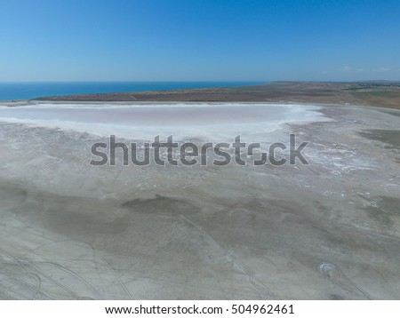 Saline Salt Lake in the Azov Sea coast. Former estuary. View from above. Dry lake. View of the salt lake with a bird's eye view.