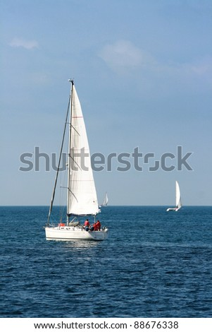 Saling boats on the blue sea
