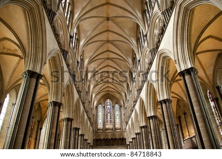 Salisbury cathedral ceiling - stock photo