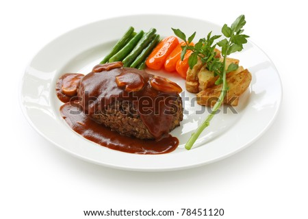 salisbury steak with mushroom gravy - stock photo