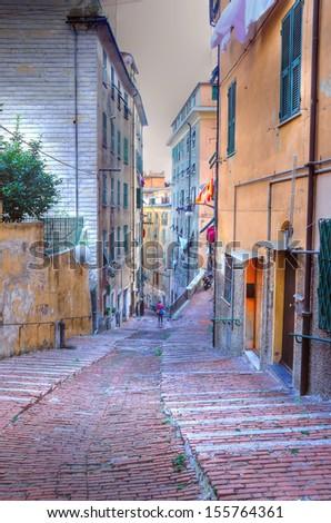 salita degli angeli, genoa, italy (hdr image) - stock photo