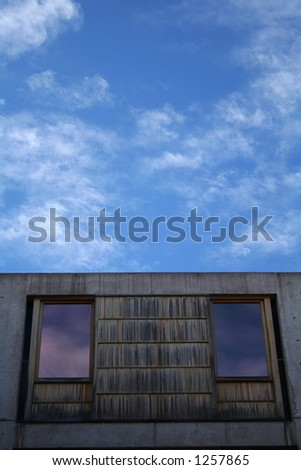 Salk Institute blue cloudy sky abstract, San Diego (La Jolla) - stock photo